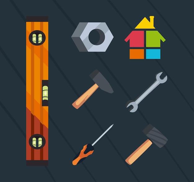 Ensemble d'icônes avec des outils d'ingénieur en construction
