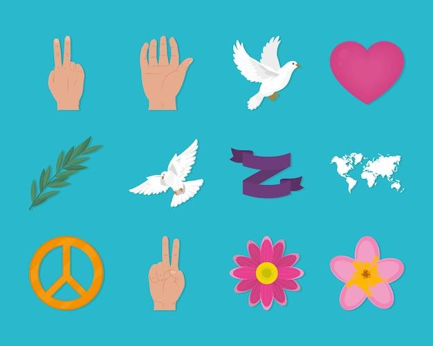 Ensemble d'icônes de pacifisme et de paix