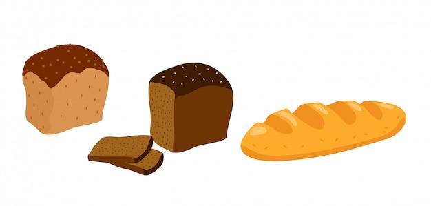 Ensemble d'icônes de pain sur fond blanc seigle, blé, grains entiers.