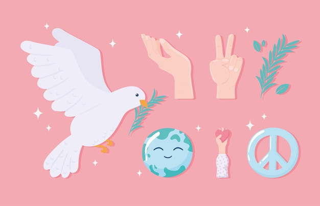 Ensemble d'icônes de paix et d'amour