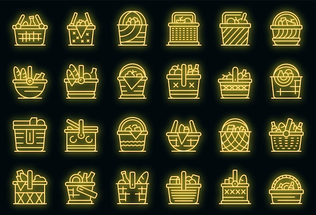 Ensemble d'icônes de panier de pique-nique. ensemble de contour d'icônes vectorielles panier pique-nique couleur néon sur fond noir