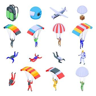 Ensemble d'icônes de parachutisme, style isométrique