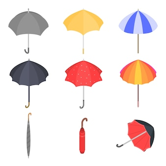 Ensemble d'icônes de parapluie, style isométrique