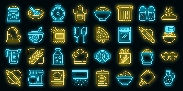 Ensemble d'icônes de pâte. ensemble de contour d'icônes vectorielles de pâte couleur néon sur fond noir