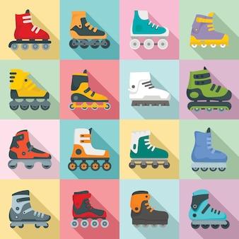 Ensemble d'icônes de patins à roues alignées, style plat