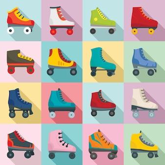 Ensemble d'icônes de patins à roulettes, style plat