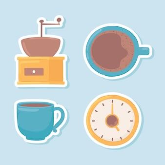 Ensemble d'icônes de pause-café