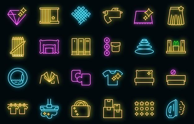 Ensemble d'icônes de perfectionnisme. ensemble de contour d'icônes vectorielles perfectionnisme couleur néon sur fond noir