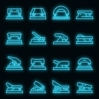 Ensemble d'icônes de perforateur. ensemble de contour d'icônes vectorielles perforatrice couleur néon sur fond noir