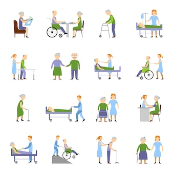 Ensemble d'icônes de personnes âgées
