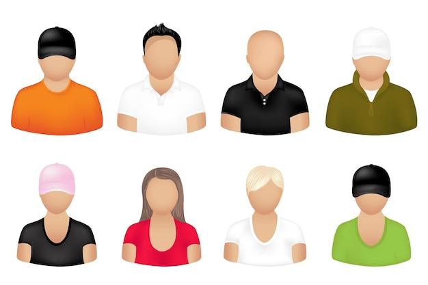Ensemble d'icônes de personnes, isolé sur blanc
