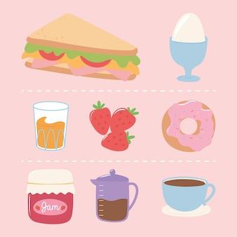Ensemble d'icônes de petit-déjeuner, cafetière et tasse de jus de beignet d'oeuf à la coque sandwich