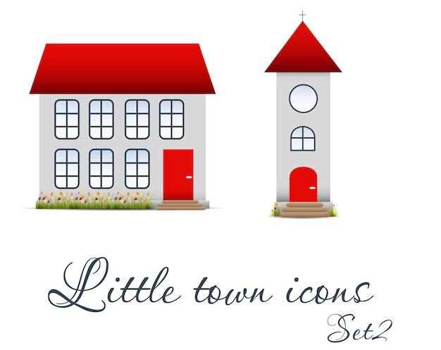 Ensemble d'icônes de petite ville. illustration vectorielle