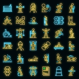 Ensemble d'icônes de physiothérapeute. ensemble de contour d'icônes vectorielles de physiothérapeute couleur néon sur fond noir