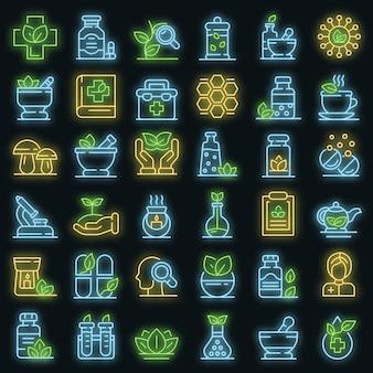 Ensemble d'icônes de phytothérapie. ensemble de contour d'icônes vectorielles de phytothérapie couleur néon sur fond noir