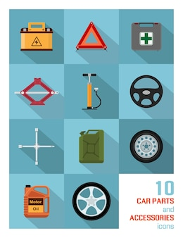 Ensemble d'icônes de pièces et accessoires automobiles sur fond bleu.