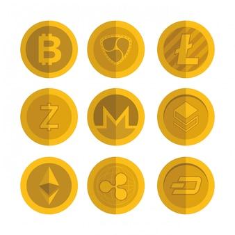 Ensemble d'icônes de pièces virtuelles