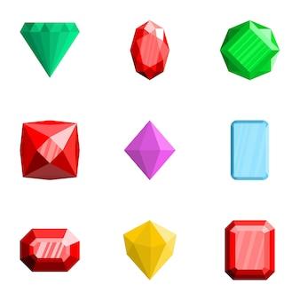 Ensemble d'icônes de pierres précieuses, style plat