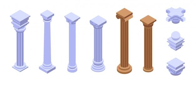 Ensemble d'icônes de pilier, style isométrique