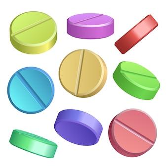 Ensemble d'icônes de pilule de couleur