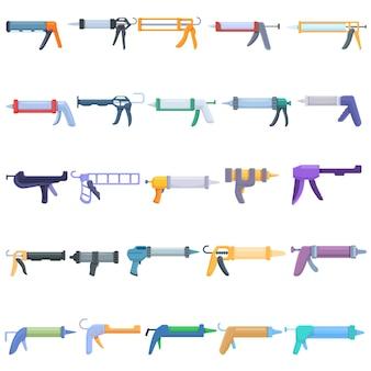 Ensemble D'icônes De Pistolet à Calfeutrer En Silicone. Ensemble De Dessin Animé D'icônes De Pistolet à Calfeutrer En Silicone Vecteur Premium