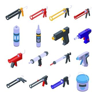 Ensemble d'icônes de pistolet à calfeutrer en silicone. ensemble isométrique d'icônes vectorielles pistolet à calfeutrer en silicone pour la conception web isolé sur fond blanc