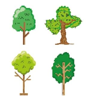Ensemble d'icônes pixélisées jardin et nature