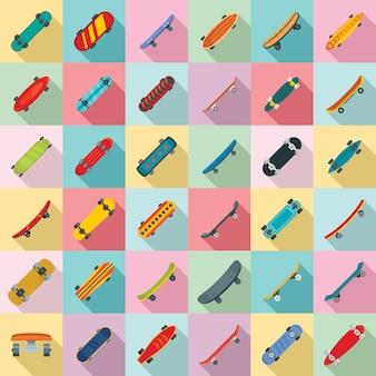 Ensemble d'icônes de planche à roulettes, style plat