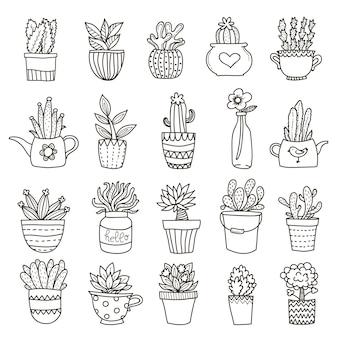 Ensemble d'icônes de plantes domestiques