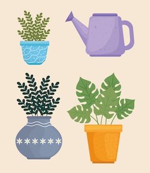 Ensemble d'icônes plantes d'intérieur