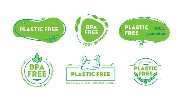 Ensemble d'icônes en plastique ou sans bpa. aucun insignes de poisons en plastique avec des éléments dessinés à la main de doodle de feuilles vertes. étiquettes de style simple pour la conception d'emballages écologiques. illustration vectorielle de dessin animé