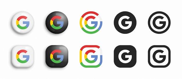 Ensemble d'icônes plat et 3d moderne google