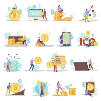 Ensemble d'icônes plat affaires crypto-monnaie blockchain isolé