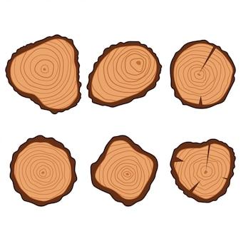 Ensemble d'icônes plat anneau bois arbre isolé