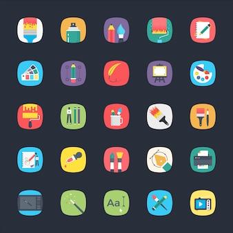 Ensemble d'icônes plat app