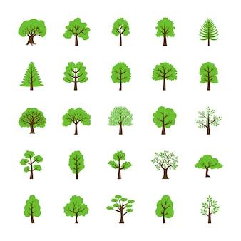 Ensemble d'icônes plat arbres