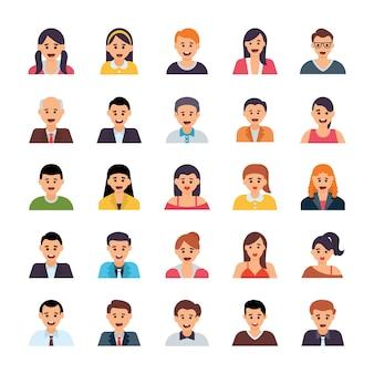 Ensemble d'icônes plat avatars humains