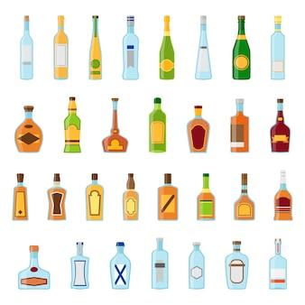 Ensemble d'icônes plat de boissons alcoolisées