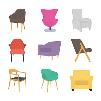 Ensemble d'icônes plat chaises