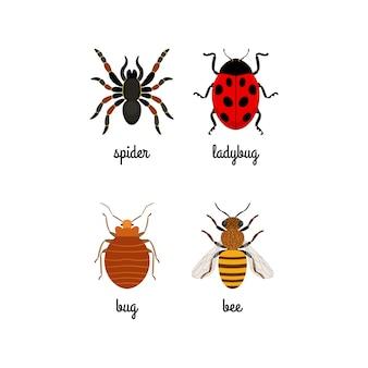 Ensemble d'icônes plat coloré insectes