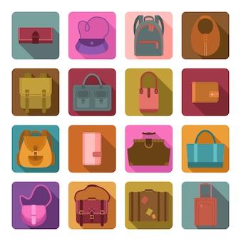 Ensemble d'icônes plat couleur sacs