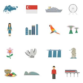 Ensemble d'icônes plat de culture de singapour