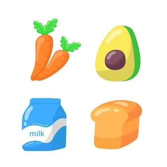 Ensemble d'icônes plat de dessin animé de nourriture.