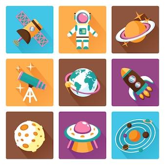 Ensemble d'icônes plat espace