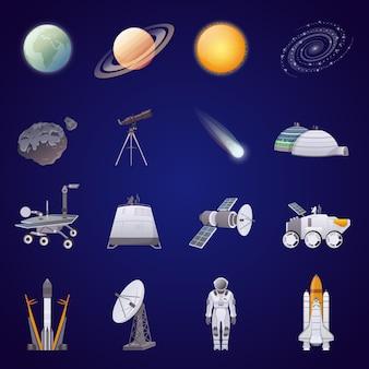 Ensemble d'icônes plat d'exploration spatiale