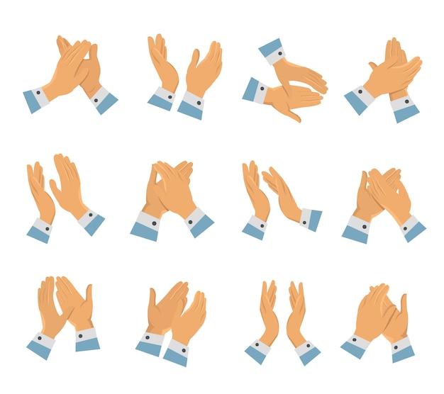 Ensemble d'icônes plat frappant des mains