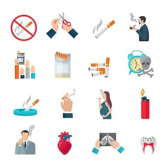 Ensemble d'icônes plat de fumer