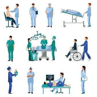 Ensemble d'icônes plat de gens professionnels de la santé