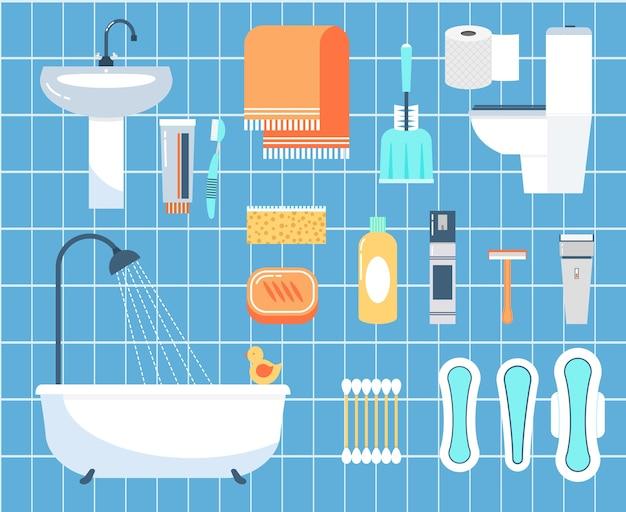 Ensemble d'icônes plat d'hygiène personnelle. bâton d'oreille, rasoir et brosse, serviette et salle de bain