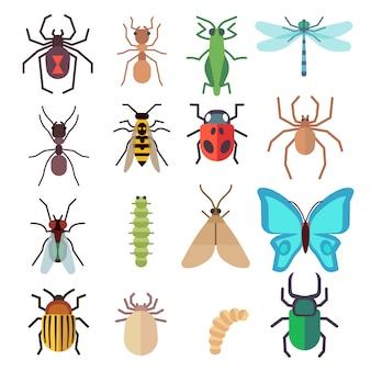 Ensemble d'icônes plat insectes